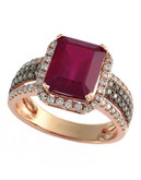 Effy 14k Rose Gold Diamond Espresso Diamond Lead and Glass Filled Ruby Ring - Ruby - 7