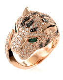 Effy 14K Rose Gold 2.7ct Black Diamond with 0.19ct Emerald Ring - Emerald - 7