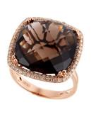 Effy 14K Rose Gold Diamond and Smoky Quartz Ring - Diamond/Quartz - 7