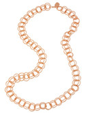 Betsey Johnson Rose Gold Circle Link Long Necklace - ROSE GOLD