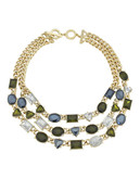 Anne Klein Metal Crystal Statement Necklace - Multi
