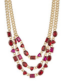 Anne Klein Drama Tri Collar Necklace - Red