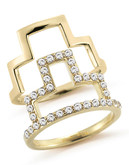 Elizabeth And James Erte Ring Stack Set With White Topaz - Gold - 7