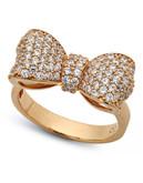 Crislu Puffy Bow Cubic Zirconia Ring - Rose Gold