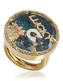 Carolee Word Play Shake Dont Stir LUCKY Ring Size 8 Gold Tone Crystal  Ring - Assorted