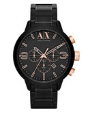 Armani Exchange Large Round Black Dial on Black Bracelet with Rose gold accents - Black