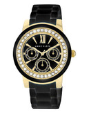 Anne Klein Round gold tone case with gold and black ceramic band and black dial - Black