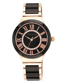 Anne Klein Round Rosegold Case Rosegold Black Brass Ceramic Band with a Black Dial with Crystals - Black