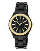 Anne Klein Round Black Plastic Case and Band - BLACK