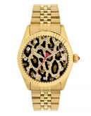 Betsey Johnson Womens Gold Leopard Pave Dial Watch Standard BJ0042802 - Gold