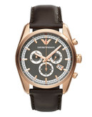 Emporio Armani Mens Rose Gold Chronograph on Brown Leather Strap - BROWN