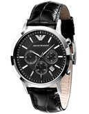 Emporio Armani Men's Black Dial with Black Leather Strap Chronograph Watch - Black