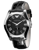 Emporio Armani Men's Leather Strap Round Black Dial Watch - Black