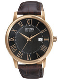 Citizen Men's Leather Strap Watch - Brown