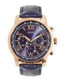 Guess Embossed Leather Chronograph Watch - Navy