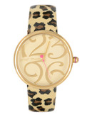 Betsey Johnson Patent Leather Strap Watch - Leopard