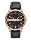 Armani Exchange Rose Gold Plated Case on Black Leather Strap - Black
