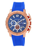 """Vince Camuto """"Striker"""" watch in rosegold with a blue silicon band - Blue"""
