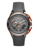 Armani Exchange Grey IP Plated Chronograph on Silicone Strap - Grey