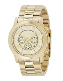 Michael Kors Over Sized Gold Plated Runway Watch - Gold
