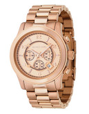 Michael Kors Over Sized Rose Gold Plated Runway Watch - Rose Gold