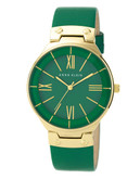 Anne Klein Round gold tone case with a green leather band and dial - Green
