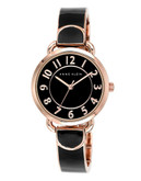 Anne Klein Round rosegold case with black enamel and rosegold band and black dial - Rose Gold Black