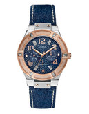 Guess Ladies Denim and Rose Gold Sport Watch W0289L1 - BLUE