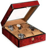 Venlo Triple Burlwood Collection 9 Watch Case with Glass