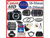 Canon EOS 60D 18 MP CMOS Digital SLR Camera 2 Lens Kit