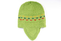 Green hand knitted pure alpaca baby beanie hat