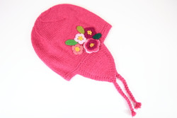 Ethical hand knitted pink alpaca girl beanie