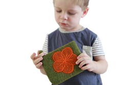 fair trade green flower pouch