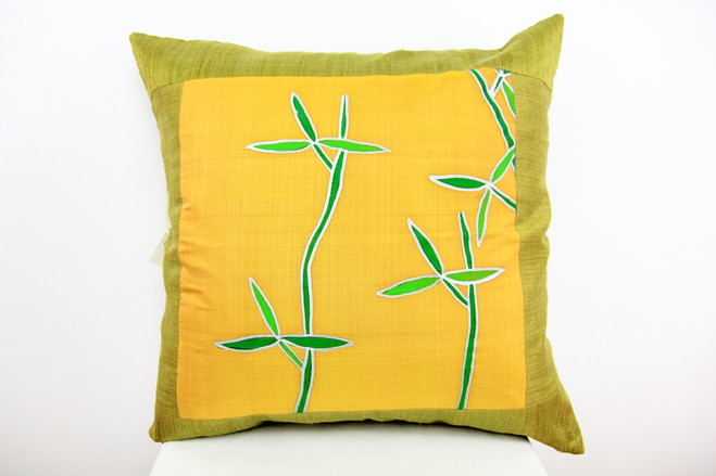 Bamboo green handwoven silk cushion with eco insert