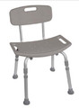 Shower Chair Aluminum Frame Removable Back 15.5 to 19.5 Inch (1 EA) (Drive Medical RTL12202KDR)