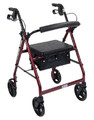 4 Wheel Rollator drive Red Adjustable Height Aluminum (Case of 1) (Drive Medical R728RD)