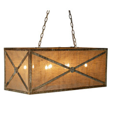 French Iron & Burlap Medallion Rectangular Chandelier 8 Light