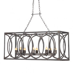 French Iron Charles Rectangular Small 8 Light Chandelier