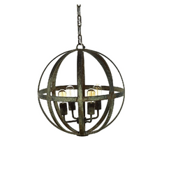 French Iron Planet 4 Light Chandelier Pendant