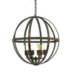 French Iron Planet 6 Light Chandelier Pendant