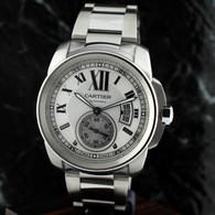 Cartier CALIBRE DE CARTIER Silver OPALINE dial W7100015