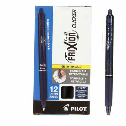 Frixion Clicker Gel Pen Fine Point 12/pkg Navy .07mm