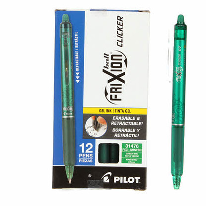 Frixion Clicker Gel Pen Fine Point 12/pkg Green .07mm
