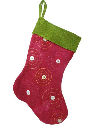 Going In Circles Burlap Christmas Stocking