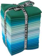 Fat Quarter Kona Cotton Solids Grecian Waters Colorway 23pcs