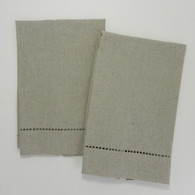Oatmeal Linen Hemstitched Guest Towel 14in x 22in