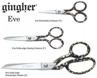 Set of 3 Gingher Eve Designer Series 4in, 5in and 8in Scissors Left Handed
