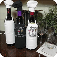 Wine Bottle Apron with Chef Hat - White