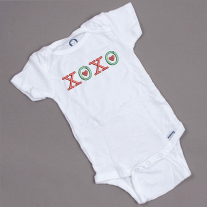 XOXO with Hearts on Onesie