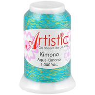 Janome Artistic Aqua Kimono Metallic Thread 1000 Yards